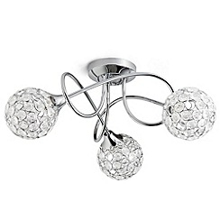 Litecraft - Gem Ball 3 Light semi flush Chrome ceiling light