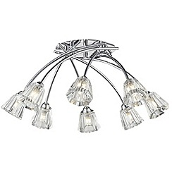 Litecraft - Alberta 8 light crossover flush Chrome ceiling light