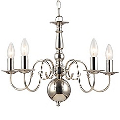 Litecraft - Lyon flemish 5 light polished Nickel chandelier