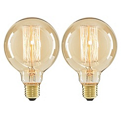 Litecraft - 2 Pack of Cage 40 Watt Vintage Globe E27 Edison Screw Light Bulb - Gold Tinted