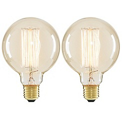Litecraft - 2 Pack of Cage 40 Watt Vintage Globe E27 Edison Screw Light Bulb - Clear