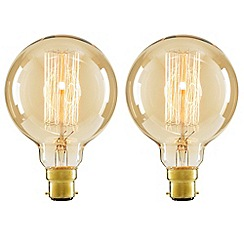 Litecraft - 2 Pack of Cage 40 Watt Vintage Globe B22 Bayonet Cap Light Bulb - Gold Tinted