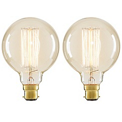Litecraft - 2 Pack of Cage 40 Watt Vintage Globe B22 Bayonet Cap Light Bulb - Clear