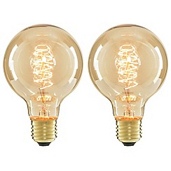 Litecraft - 2 Pack of Spiral 40 Watt Vintage Globe E27 Edison Screw Light Bulb - Gold Tinted