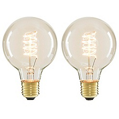 Litecraft - 2 Pack of Spiral 40 Watt Vintage Globe E27 Edison Screw Light Bulb - Clear