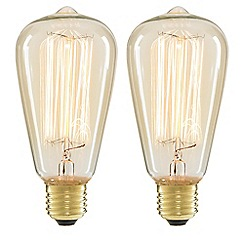 Litecraft - 2 Pack of Cage 40 Watt Vintage Teardrop E27 Edison Screw Light Bulb - Clear