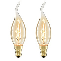 Litecraft - 2 Pack of 40 Watt Bent Cap E14 Vintage Squirrel Cage Candle Bulb - Gold Tinted