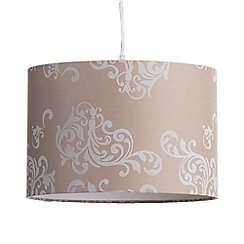 Litecraft - Carly Flocked Damask Easy to Fit Drum Shade - Natural