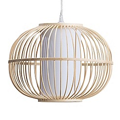 Litecraft - Skittle Rattan Globe Easy to Fit Shade - Wood