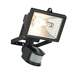 Litecraft - Vanguard Outdoor 120 Watt Large Square Security Wall Light With PIR Sensor - Black