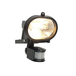 Litecraft - Vanguard Outdoor 120 Watt Large Round Security Wall Light With PIR Sensor - Black