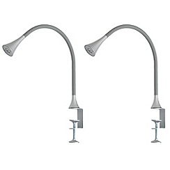 Litecraft - Pack of 2 Philips 1 Light Grey LED bendy task lamp