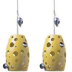 Litecraft - Pack of 2 Childrens Cheese Ceiling Pendant Light - Yellow