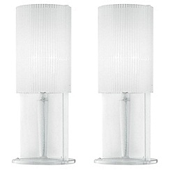 Litecraft - Pack of 2 white acrylic ribbed table lamp