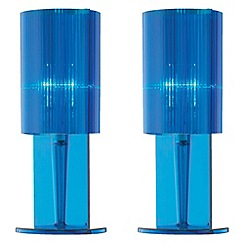 Litecraft - Pack of 2 Blue acrylic ribbed table lamp