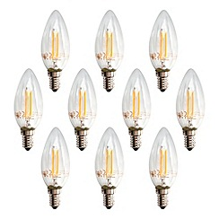 Litecraft - 10 Pack of 2 Watt E14 Small Edison Screw LED Filament Light Bulb - Warm White