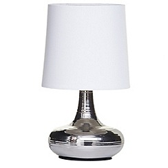Litecraft - Mini scratched Chrome table lamp with White shade