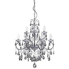 Litecraft - Vara 9 light chrome bathroom chandelier with Smoke Crystals