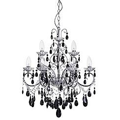 Litecraft - Vara 9 light chrome bathroom chandelier with Black Crystals