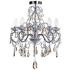 Litecraft - Vara 5 light Chrome bathroom chandelier with Champagne crystals