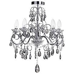 Litecraft - Vara 5 light Chrome bathroom chandelier with smoke crystals