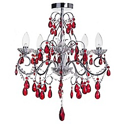 Litecraft - Vara 5 light chrome bathroom chandelier with Red Crystals