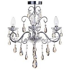 Litecraft - Vara 3 light Chrome bathroom chandelier with champagne crystals