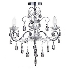 Litecraft - Vara 3 light chrome bathroom chandelier with Smoke Crystals