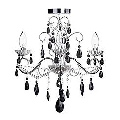 Litecraft - Vara 3 light Chrome bathroom chandelier with Black crystals