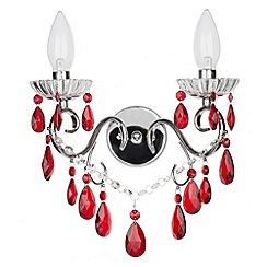 Litecraft - Vara 2 light chrome bathroom wall light with Red Crystals