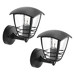Litecraft - Philips Pack of 2 Creek Outdoor Lantern Wall Light - Black
