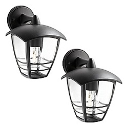 Litecraft - Philips Pack of 2 Creek Outdoor Down Lantern Wall Light - Black