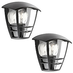 Litecraft - Philips Pack of 2 Creek Outdoor Lantern Flush Wall Light - Black