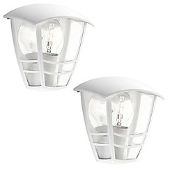 Litecraft - Philips Pack of 2 Creek Outdoor Wall Light - White