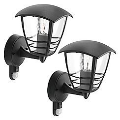 Litecraft - Philips Pack of 2 Creek Outdoor Lantern Wall Light with PIR Sensor - Black
