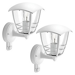 Litecraft - Philips Pack of 2 Creek Outdoor Lantern Wall Light with PIR Sensor - White