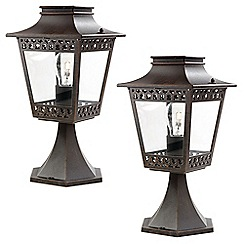 Litecraft - Philips Pack of 2 Hedge Outdoor Lantern Pedestal Light - Rustic