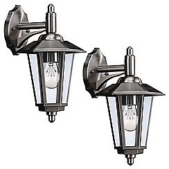 Litecraft - Philips Pack of 2 Galveston Outdoor Wall Down Lantern - Stainless Steel