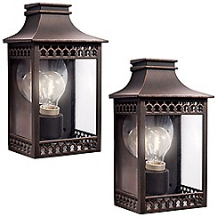 Litecraft - Philips Pack of 2 Hedge Outdoor Wall Light - Rustic