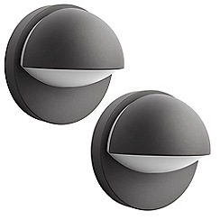 Litecraft - Philips Pack of 2 June Outdoor Wall Light - Dark Grey