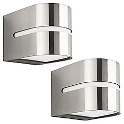 Litecraft - Philips Pack of 2 Hazel Outdoor Up and Down Wall Light - Stainless Steel