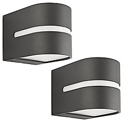 Litecraft - Philips Pack of 2 Hazel Outdoor Up and Down Wall Light - Dark Grey