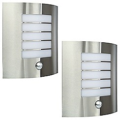 Litecraft - Philips Pack of 2 Oslo Slatted Outdoor Wall Light - Stainless Steel