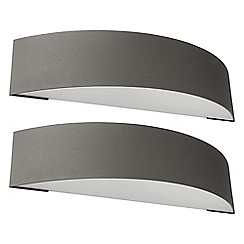 Litecraft - Philips Pack of 2 Patch Outdoor Curved Wall Light - Dark Grey