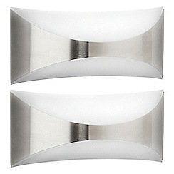 Litecraft - Philips Pack of 2 Seedling Outdoor Up and Down Wall Light - Stainless Steel
