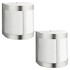 Litecraft - Philips Pack of 2 Parrot Outdoor LED Wall Light With Frosted Glass - Stainless Steel