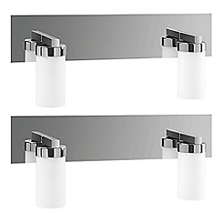 Litecraft - Philips Pack of 2 Aloe 2 Light Bathroom Wall Light - Polished Chrome