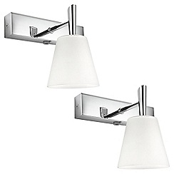 Litecraft - Philips Pack of 2 Hydrate Glass Bathroom Wall Light - Polished Chrome