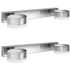 Litecraft - Philips Pack of 2 Trickle 2 Light Bathroom Wall Light - Polished Chrome
