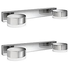 Litecraft - Philips Pack of 2 Trickle 2 Light Bathroom Wall Light - Polished Chrome